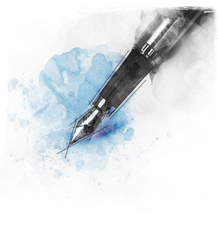 Pen with blue ink at the background